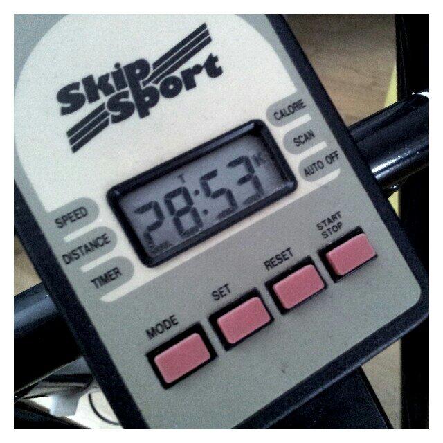 Cykeltimmern visar 28 minuter och 53 sekunder