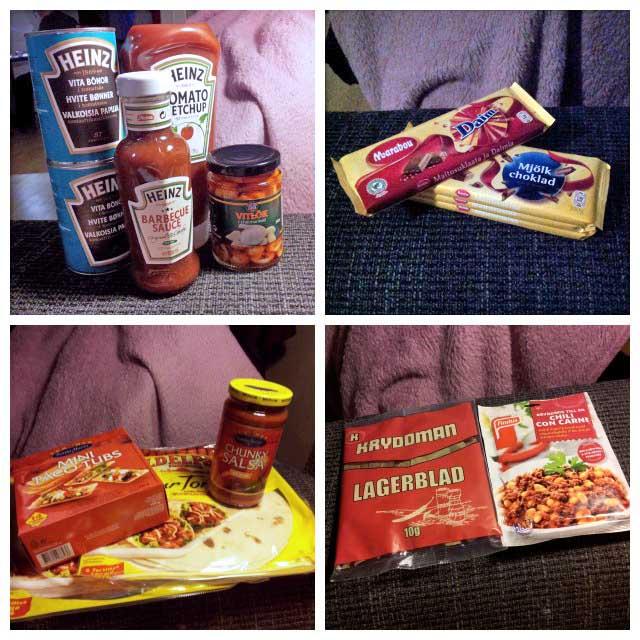 Shopping fynd från Gekås Ullared, Heinz ketchup - bbq sås - konserver, Marabou choklad, Santa Maria & Old El Paso taco tillbehör samt kryddor, samt findus mixer