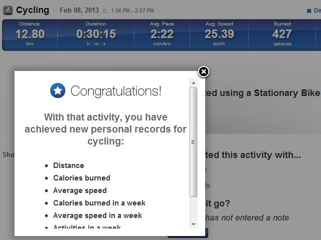 2013-02-08 Nytt träningsrekord på motionscykeln