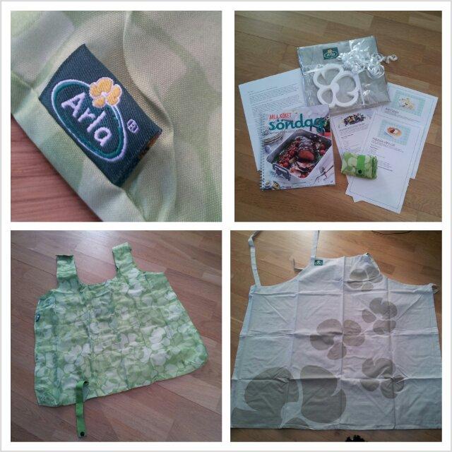 Paket från Arla med kokbok, förkläde, shoppingkass, grytunderlägg och påskrecept
