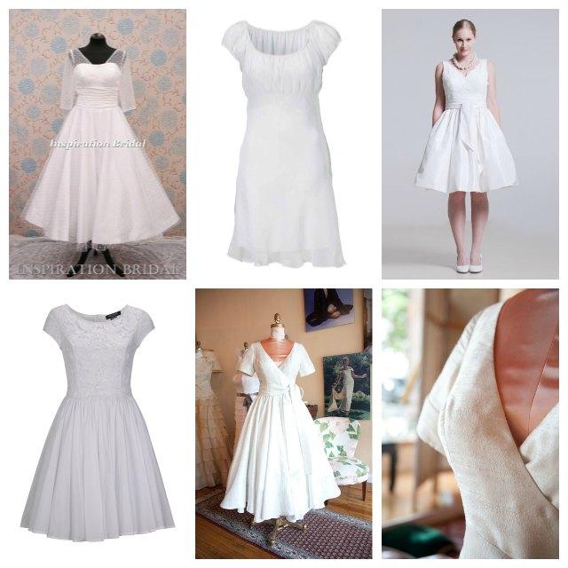 Söta korta knälånga brudklänningar - studentklänningar