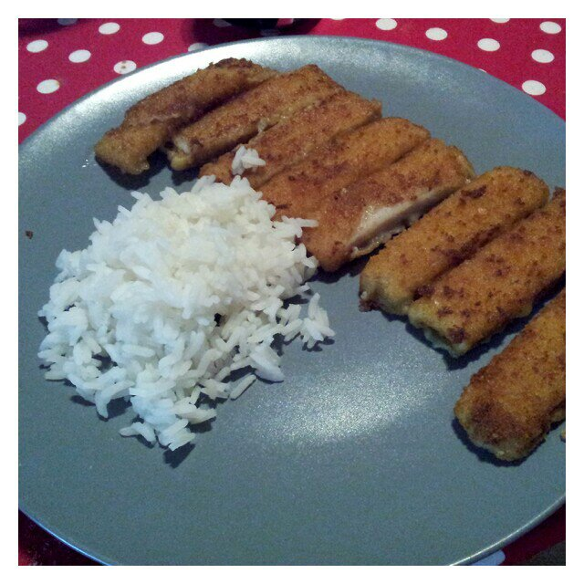 Fiskpinnar och ris