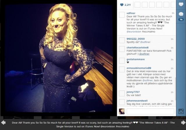 Sarah Dawn Finers fina esc2013 klänning, bild lånad från instagram