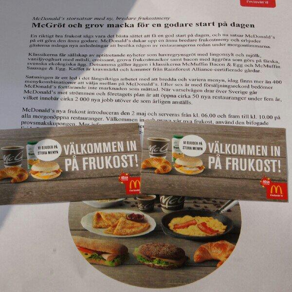 två gratis kuponger på frukost på McDonalds