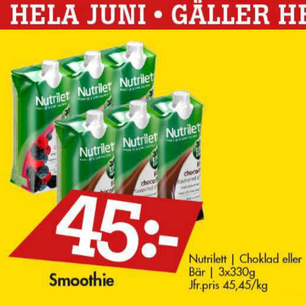 Netto erbjudande juni 2013, 3-pack nutrilett shakes för 45 kr