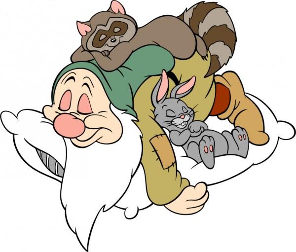 Trötter tar sig en tupplur med sina kompisar. Bildlånad från wikipedias sida om snövit