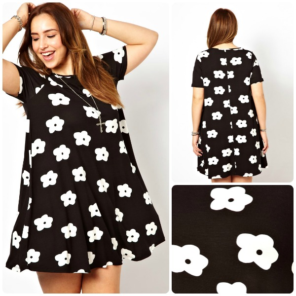 ASOS CURVE Swing Dress In Mono Flower Print