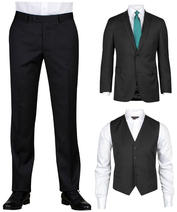 Svart ull kostym från dressman