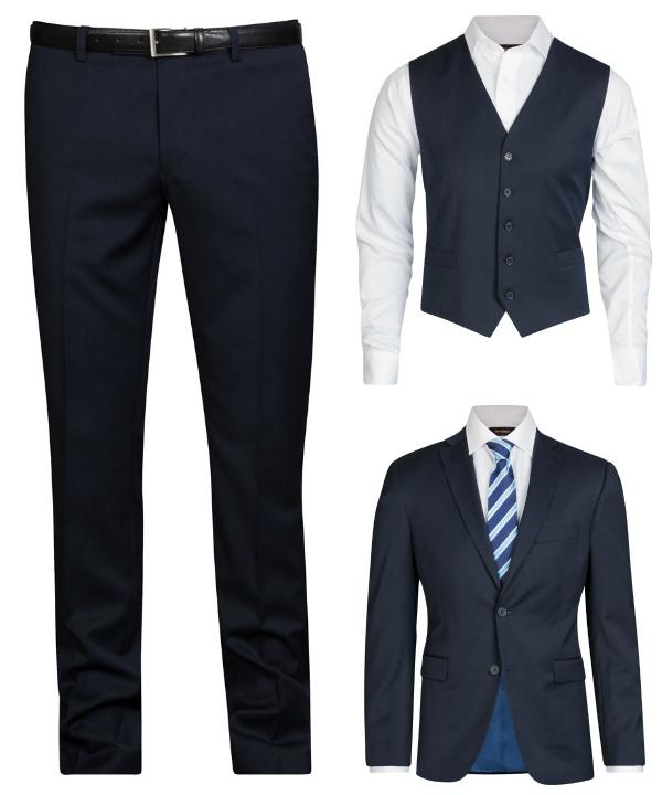 Marinblå ull kostym från dressman