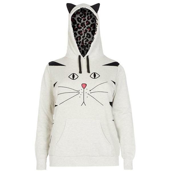 newlook light-grey-cat-ear-hoodie