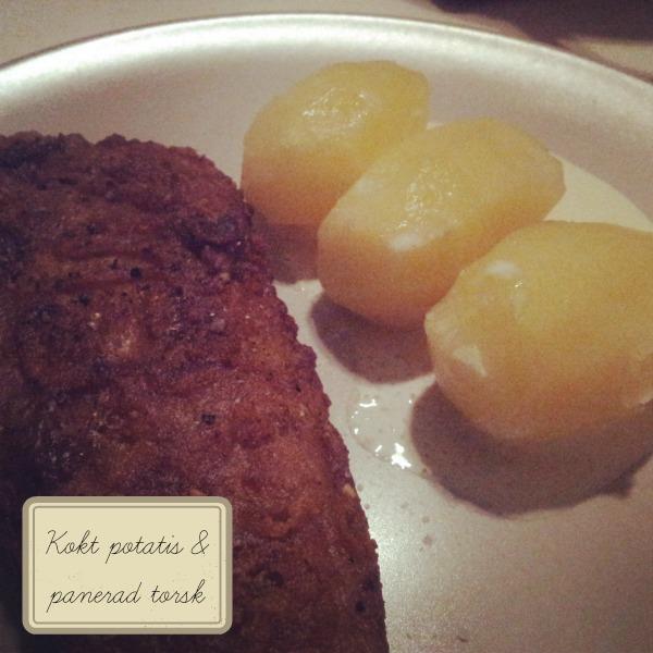 Kokt potatis och panerad fisk