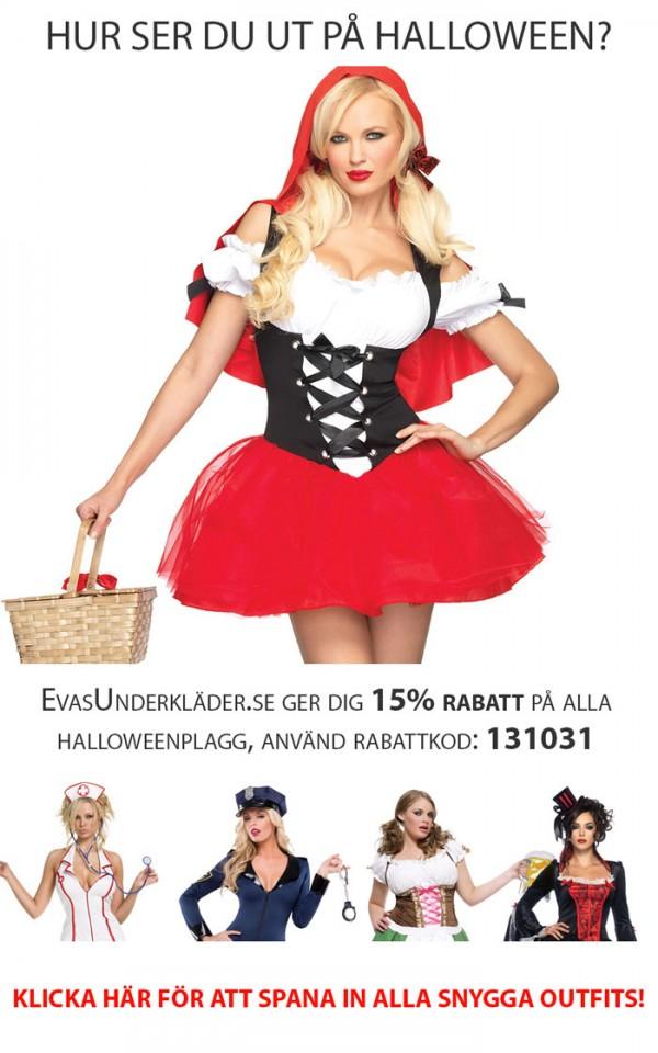 Evas underkläder ger dig 15% rabatt på alla Halloweenplagg, använd rabattkod 131031