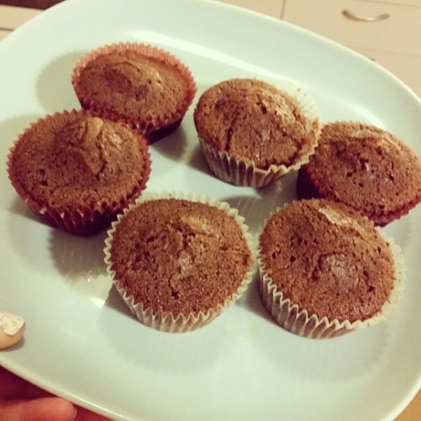 Chokladmuffins bakade i c3 cupcake maker vi fick i bröllopspresent från Maria & Liam