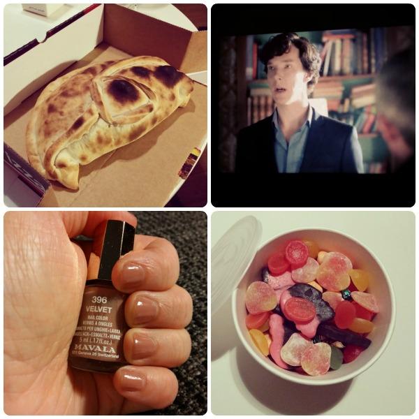 Nyårsdag middag pizza, såg nya Sherlock Holmes, målade naglarna och tog ett godisuppehållslöfte