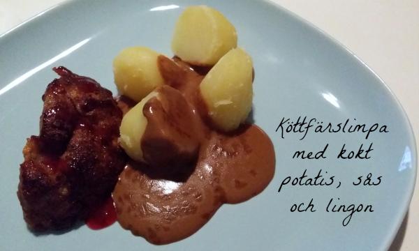 Laktosfri köttfärslimpa med kokt potatis, sås och lingon