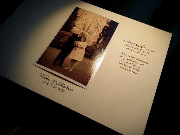 Egen designade tackkort till våra bröllopsgäster