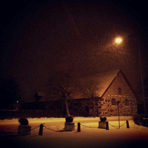 Snöar över Vagnsmuseet i Mörarp