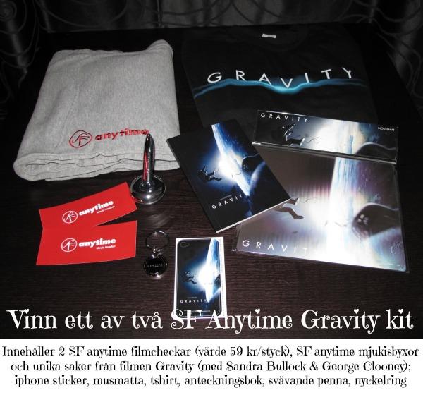 Gravity kit från SF Anytime med tshirt, mysbyxor, musmatta, film värdecheckar, iphone sticker, anteckningsbok etc