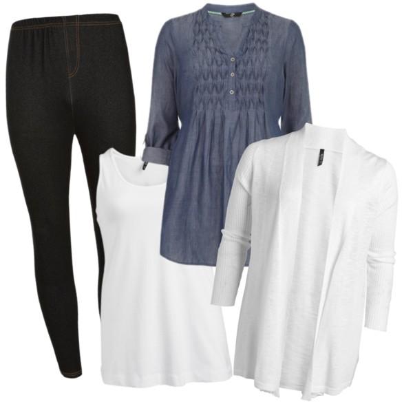 Ledigt men fint i vår, svarta jeggings, vitt linne, vit kofta och jeansblå tunika