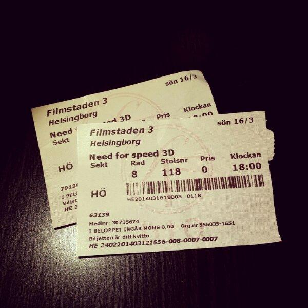 Biobiljetter till SF Filmstaden i Helsingborg och filmen Need for Speed