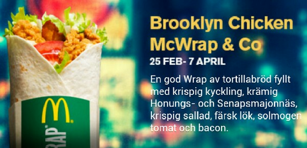 Brooklyn Chicken McWrap från McDonalds
