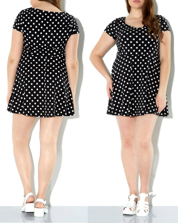 newlook 2014 - Inspire Black Polka Dot Skater Dress blogg
