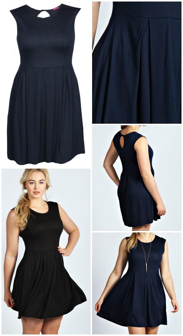 Kate Sleeveless Skater Dress - navy and black