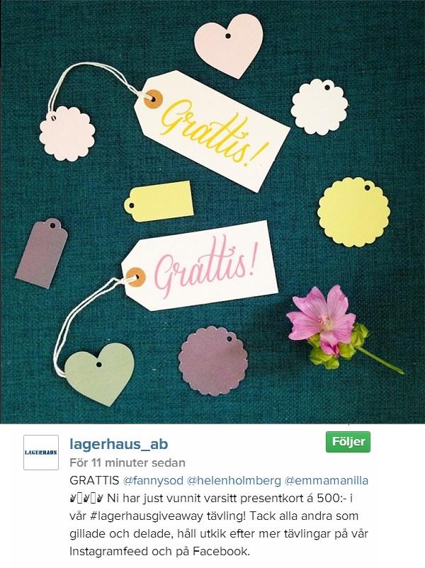 Lagerhaus AB giveaway tävling på instagram 2014