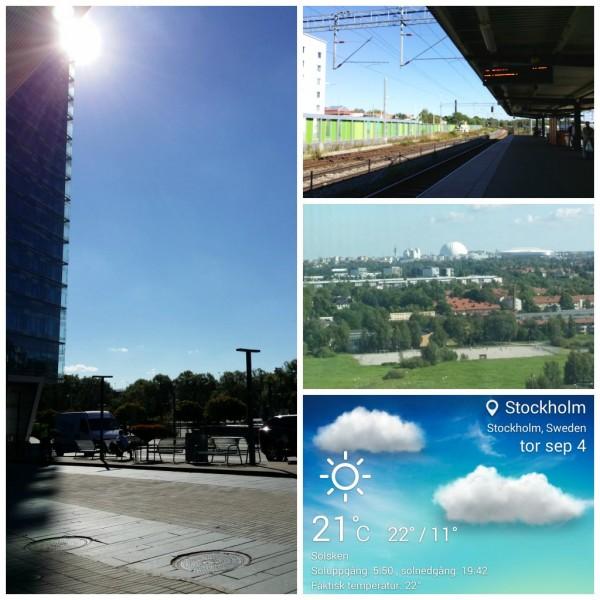 Scandic Talk, Älvsjö station, utsikt från hotellrummet och dagens temperatur i Stockholm