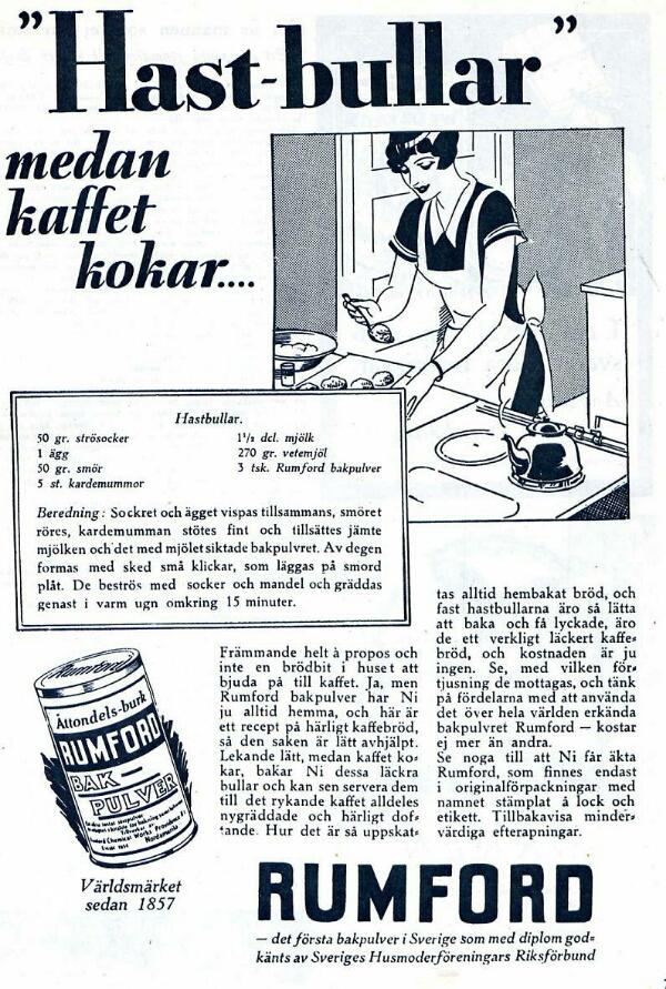 Hastbullar medan kaffet kokar, gammal annons från Rumford bakpulver
