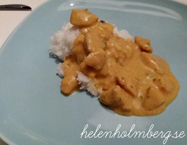 Laktosfri kyckling curry med jasmin ris