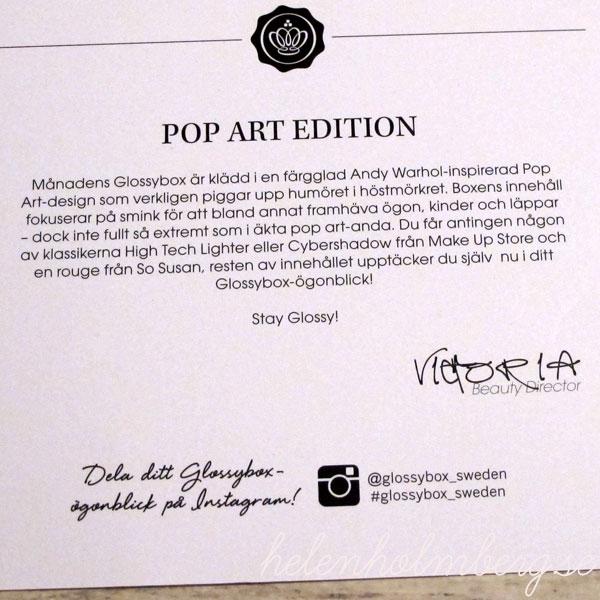 Glossybox Sweden oktober pop art edition