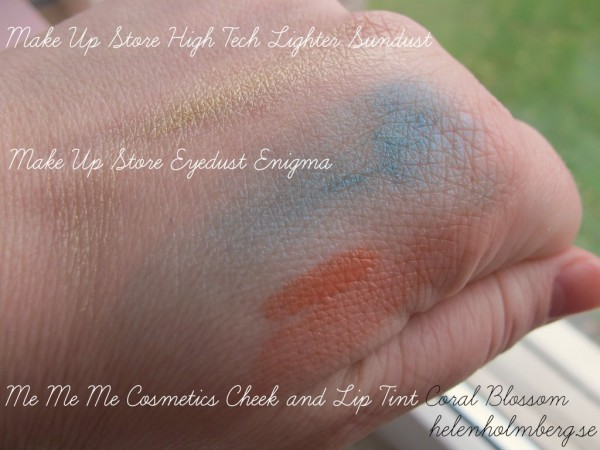 Make Up Store eyedust Enigma, High tech lighter & me me me swatch