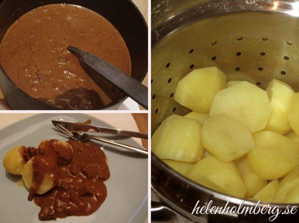 Laktosfri fläskfilé gryta med kokt potatis
