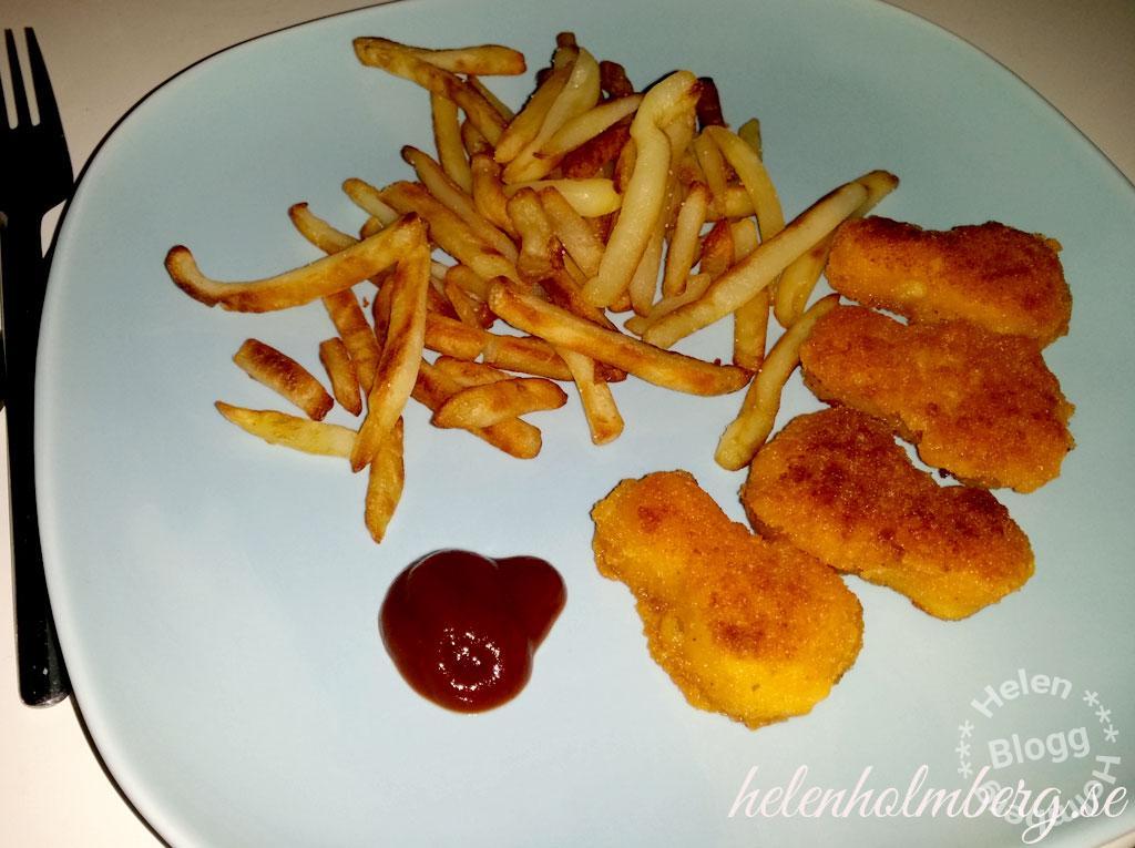 Kycklingbitar och pommes