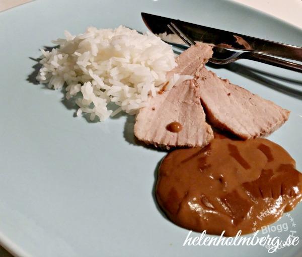 Söndags fläskestek med ris och gräddsås
