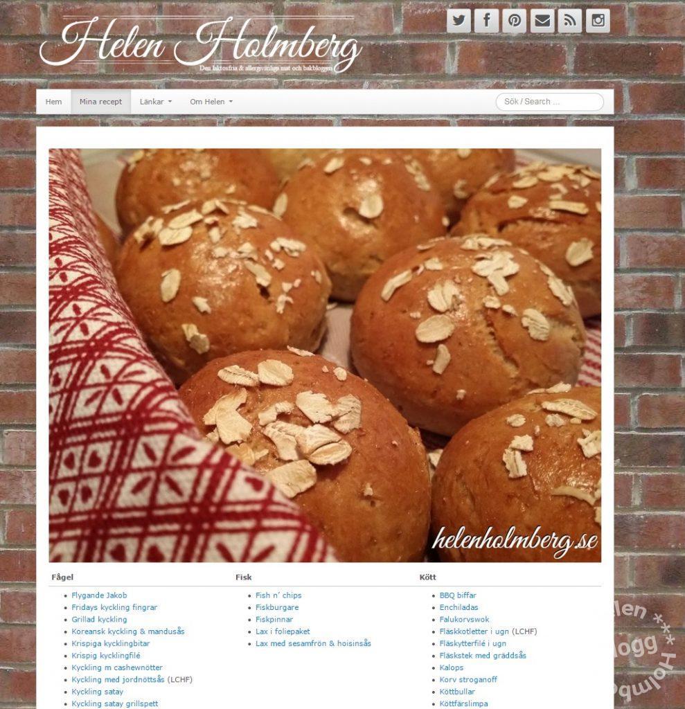 Skärmdump på Helen Holmbergs mina recept sida