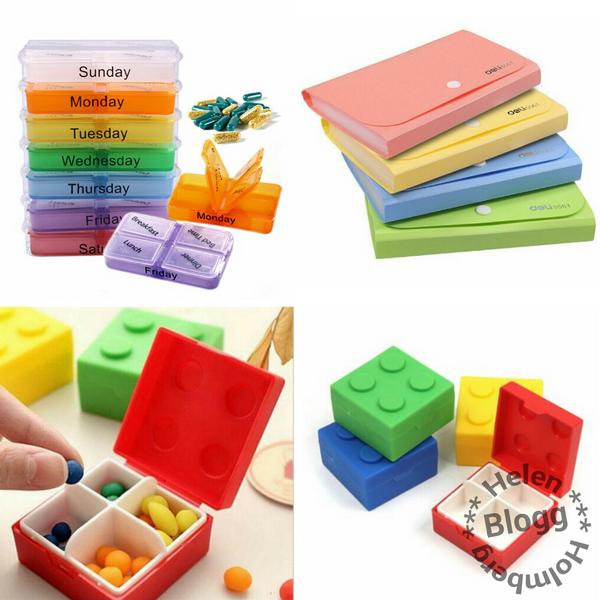 individuell medicin sorterare för veckans sju dagar, lego medicin låda och kupong sorterare