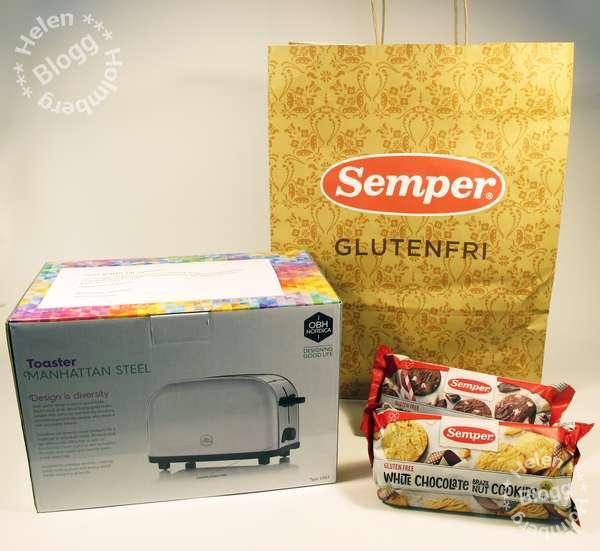 semper glutenfri tävlingsvinst,  OBH Nordica brödrost och glutenfria kakor