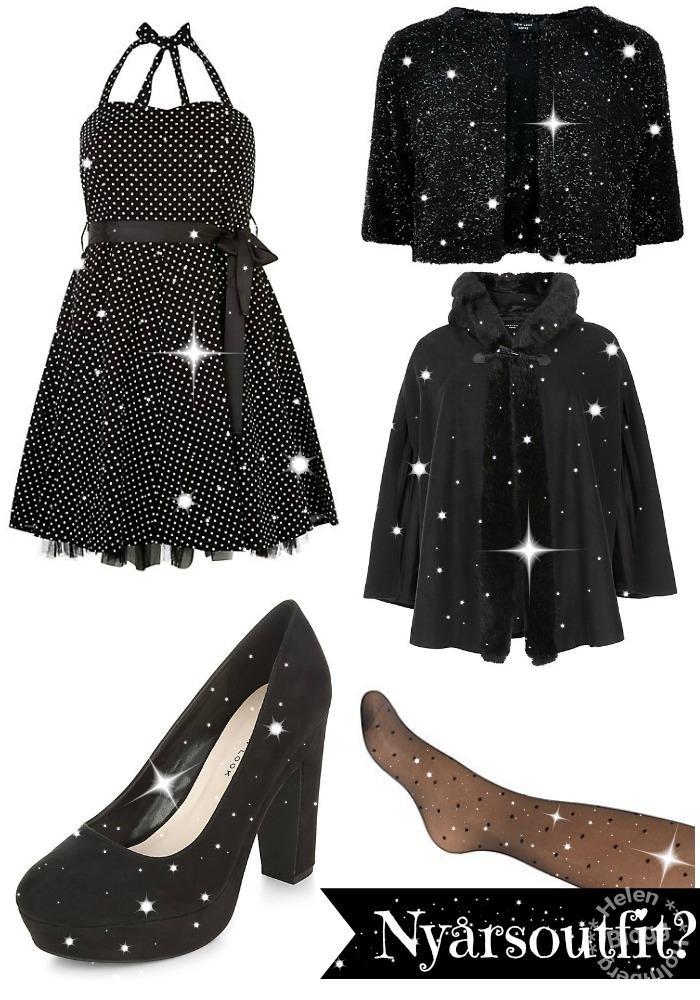 nyårs önskan en plus size prickig klänning, kofta, skor, strumpbyxor och en cape