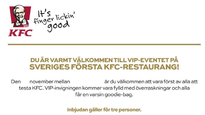Inbjuden på KFC VIP Event