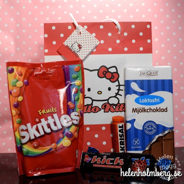Presentpåse med Hello Kitty och laktosfritt godis