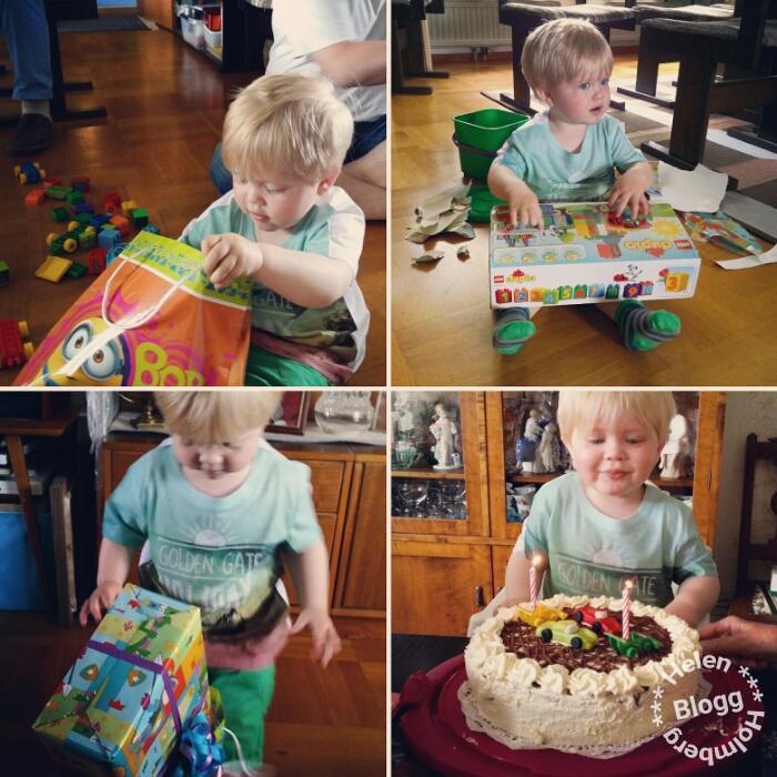 glatt födelsedagsbarn med laktosfri gräddtårta och duplo tåg