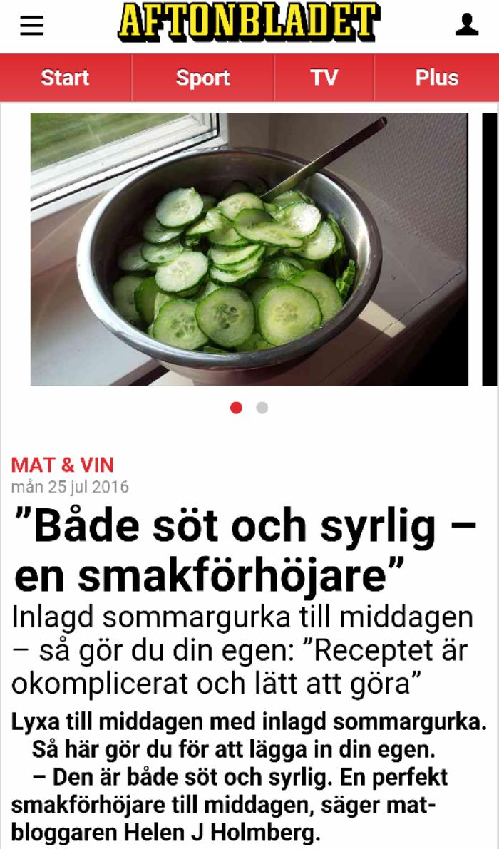 Helen J Holmberg recept på sommargurka