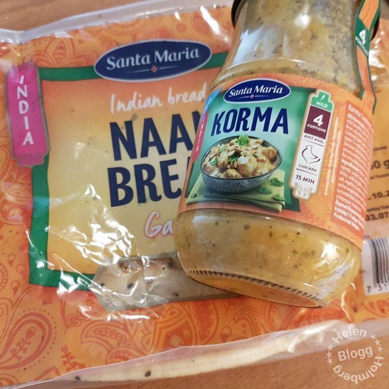 Santa Maria Indian bread naan bread och Kyckling korma sås